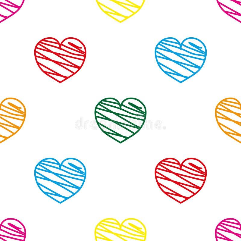 白色背景上的有趣彩心无缝图案 2月14日壁纸 情人节背景 手绘装饰, 向量例证