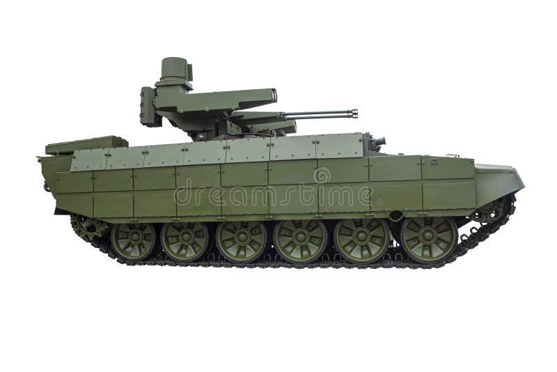 白色背景下的俄军现代步兵战车 免版税库存图片