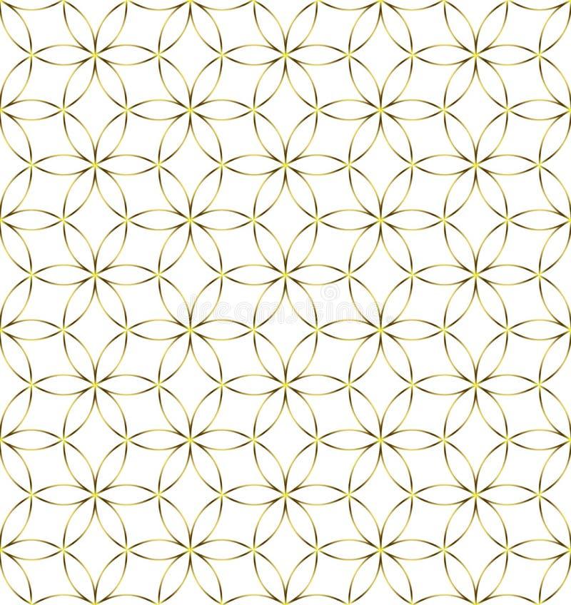 白色背景下的无缝金色几何花与圆图案 向量例证
