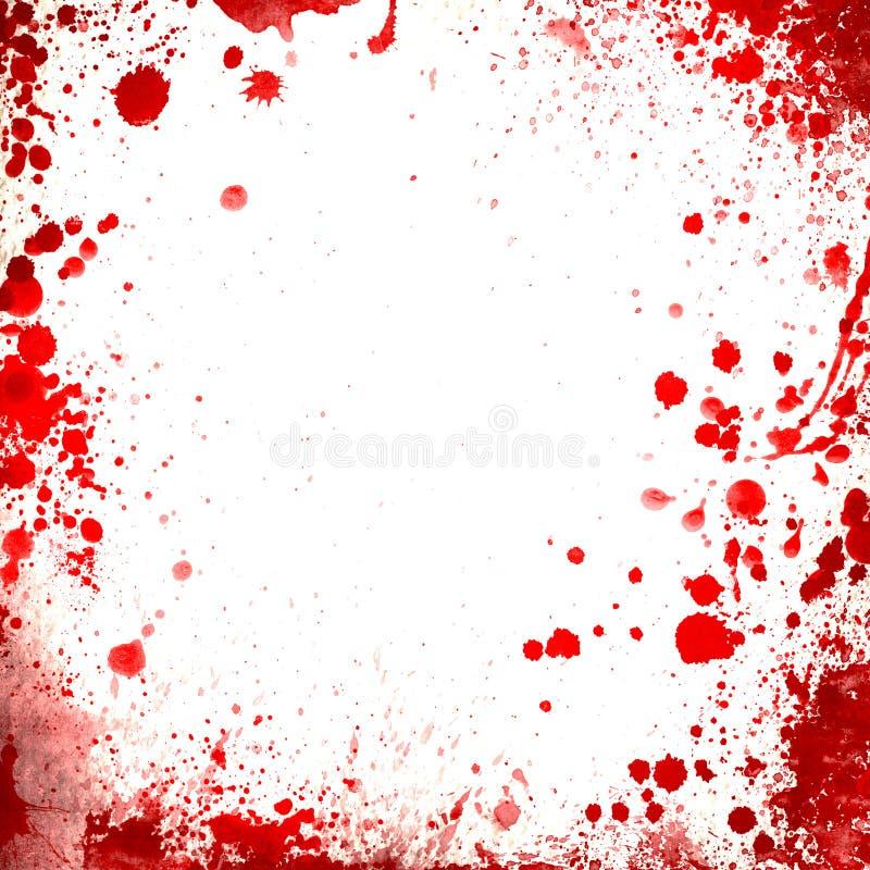 白色背景丝毫红色血液喷溅边界 库存图片
