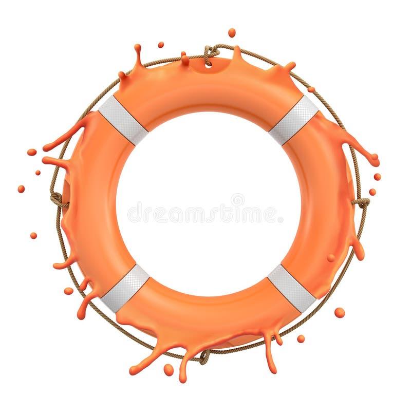 白色背景中橙色救生圈环溅的3d渲染 皇族释放例证