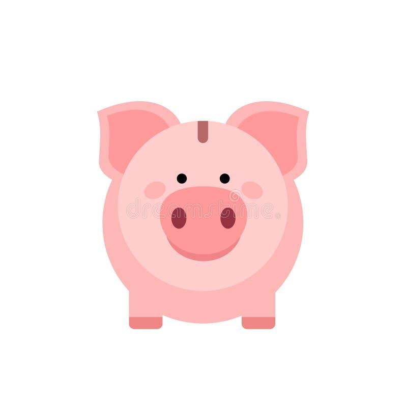白色背景中的小猪存钱罐 Pig Icon储蓄或积累资金 库存例证