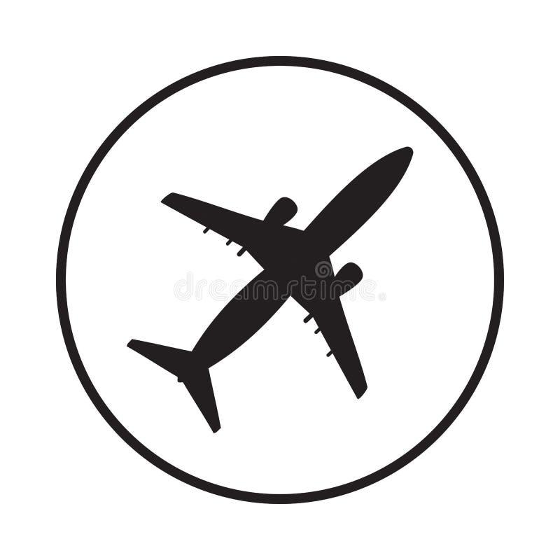 白色背景中的平面飞机图标 库存例证