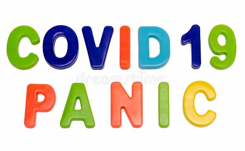 白色背景中的文本COVID-19 PANIC 免版税库存图片