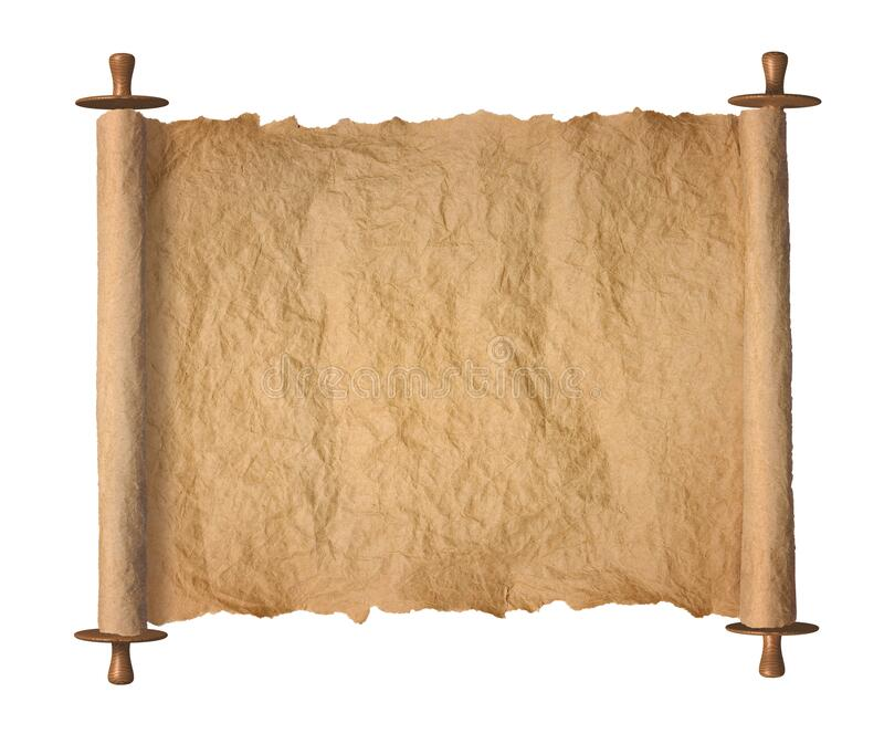 白色背景中的旧卷烤羊纸 免版税库存照片