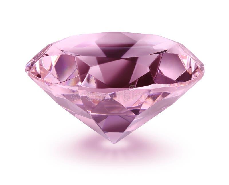 白色背景中的粉红色钻石 图库摄影