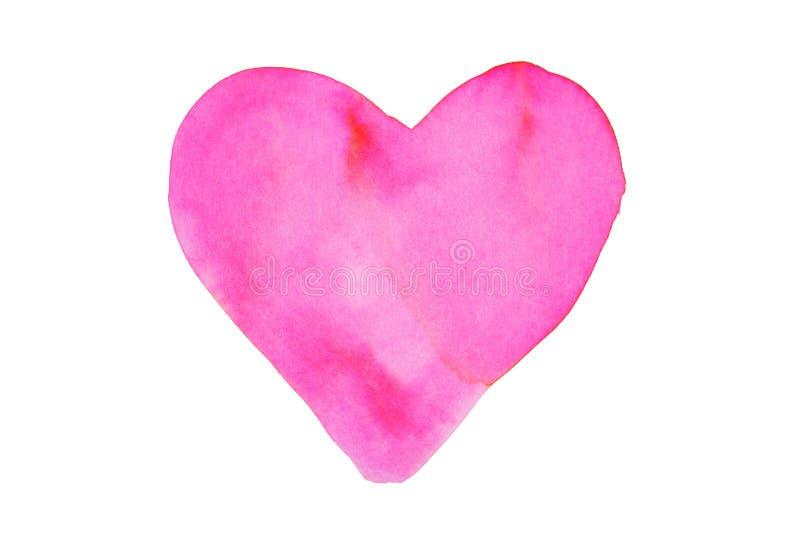 白色背景中突显的彩色水彩心脏 免版税库存图片