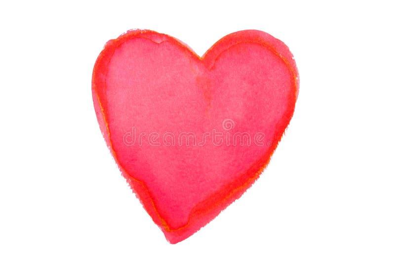 白色背景中突显的彩色水彩心脏 图库摄影