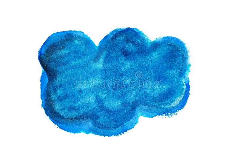 白色背景中突显的水彩云彩绘 免版税库存照片