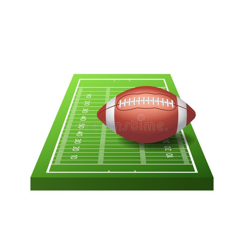 白色背景中绿草和球的3d美式足球场图标,矢量图 库存例证