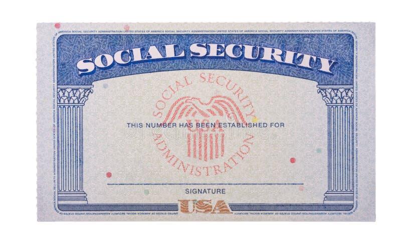 白色背景中隔离的空白美国社会保障卡 免版税库存照片