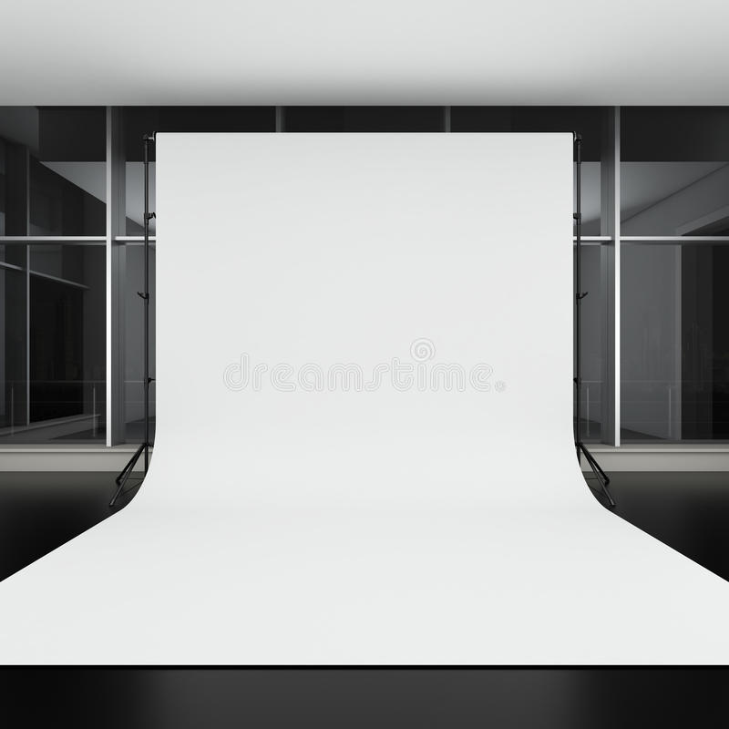 白色背景在暗室 向量例证