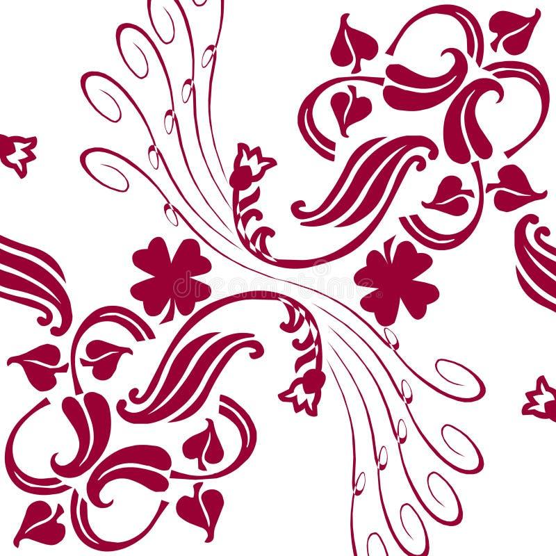 白色背景抽象样式花装饰品 向量例证