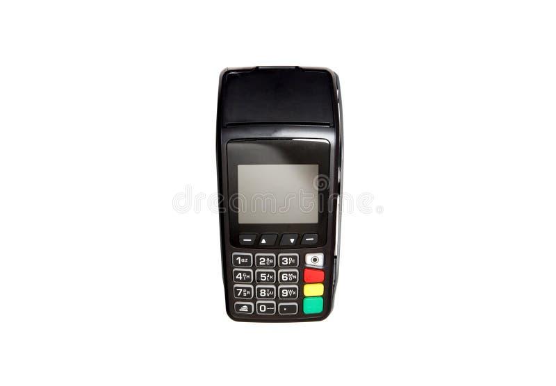 白色背景的信用卡支付终端 免版税库存图片