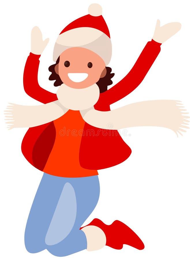白色背景的女孩在红色衣裳跳跃 皇族释放例证