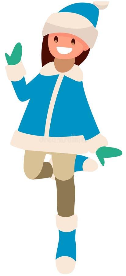 白色背景的女孩在蓝色衣服跳跃 向量例证