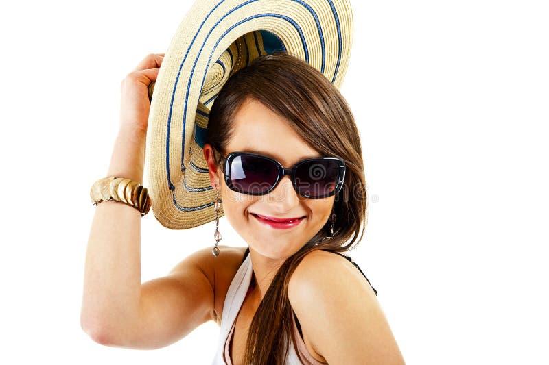 白色背景的妇女与太阳镜 库存照片