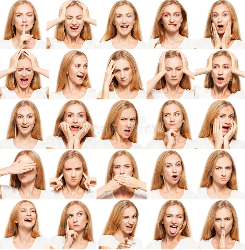 白色背景的妇女 拼贴画 免版税库存图片
