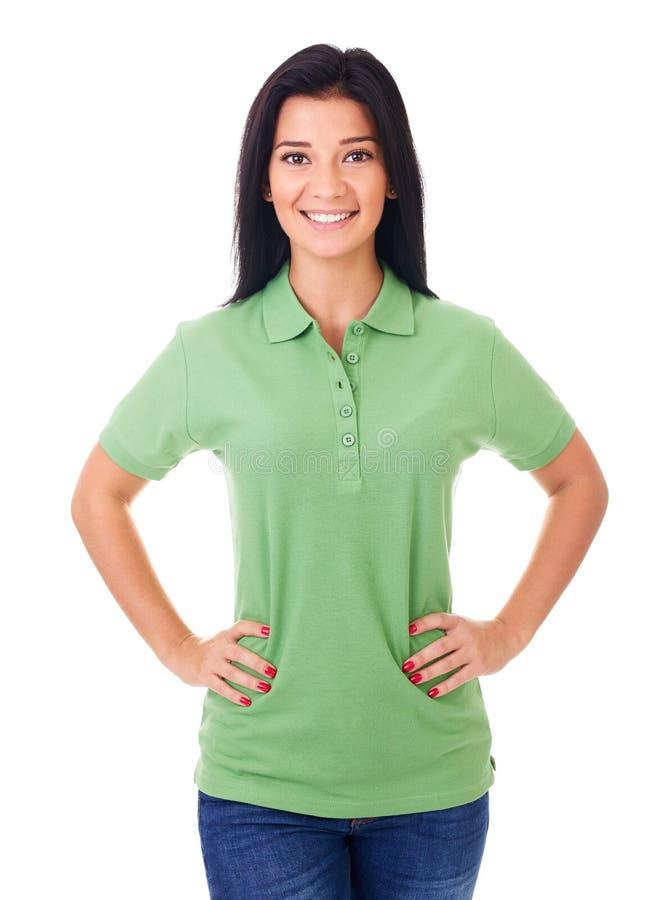 白色背景的微笑的妇女 免版税图库摄影