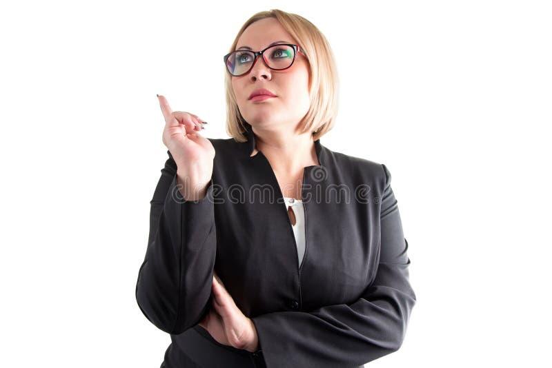 白色背景的想法的usiness妇女 图库摄影