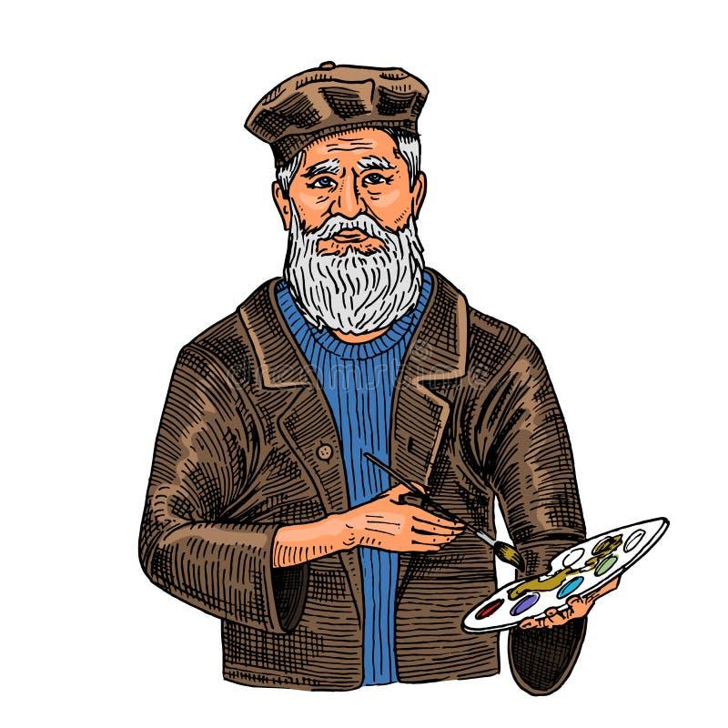 白色背景的有胡子的创造性的人与油漆 一个帽子的艺术家海报或横幅的 用手画在 皇族释放例证