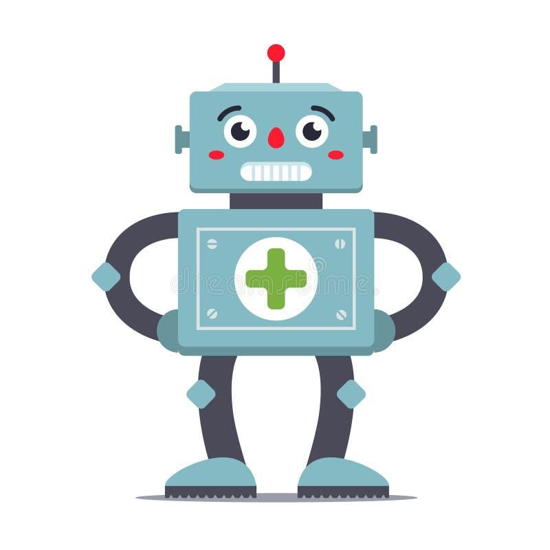 白色背景的机器人军医 未来派医院 皇族释放例证