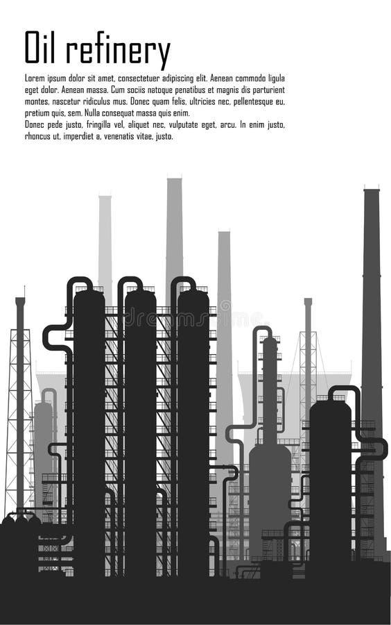 白色背景的油和煤气精炼厂 皇族释放例证