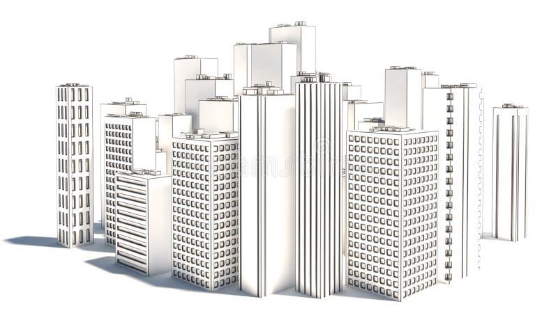 白色背景的现代企业城市 草图 库存例证
