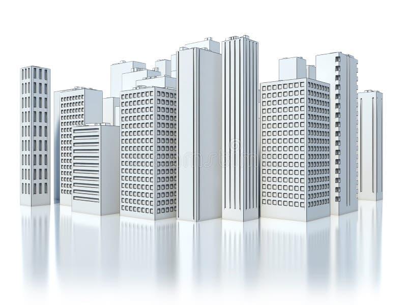 白色背景的现代企业城市 草图 皇族释放例证