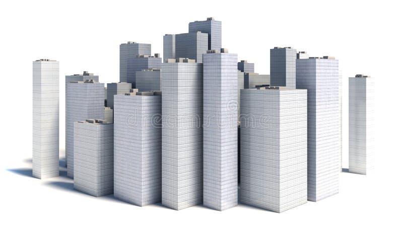 白色背景的现代企业城市 库存例证
