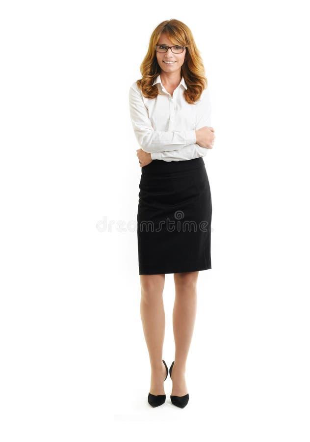 白色背景的确信的女实业家 免版税库存图片