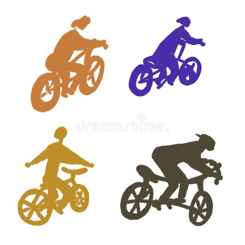 白色背景的,剪影一个骑自行车者 向量例证