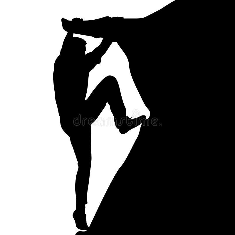 白色背景的黑人剪影攀岩运动员 也corel凹道例证向量 皇族释放例证