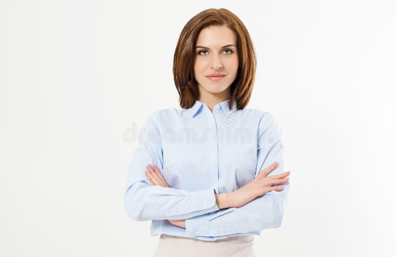 白色背景的-在白色背景隔绝的愉快的年轻女商人画象确信的年轻经理  库存图片