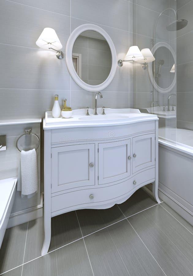 白色艺术装饰在卫生间里称呼了水槽控制台 库存图片
