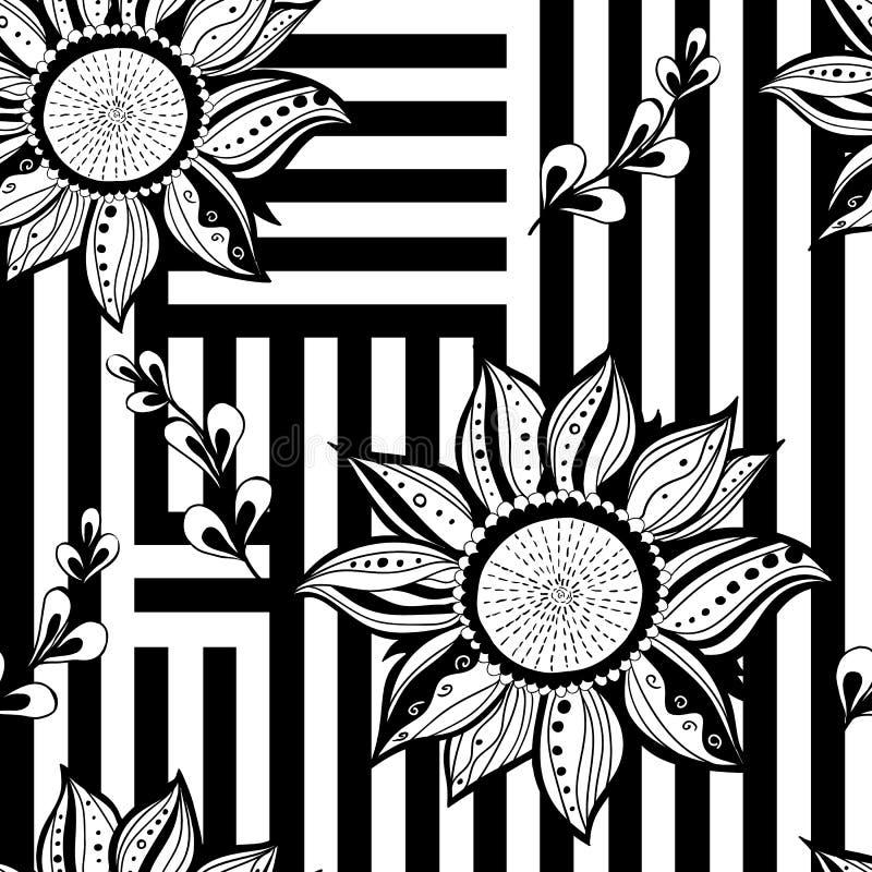 黑白色花卉无缝的背景 现代样式 也corel凹道例证向量 向量例证