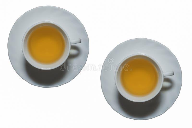 白色茉莉花茶s杯子在白色背景中 免版税库存照片