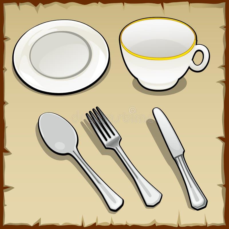 白色茶具,五个元素 库存例证