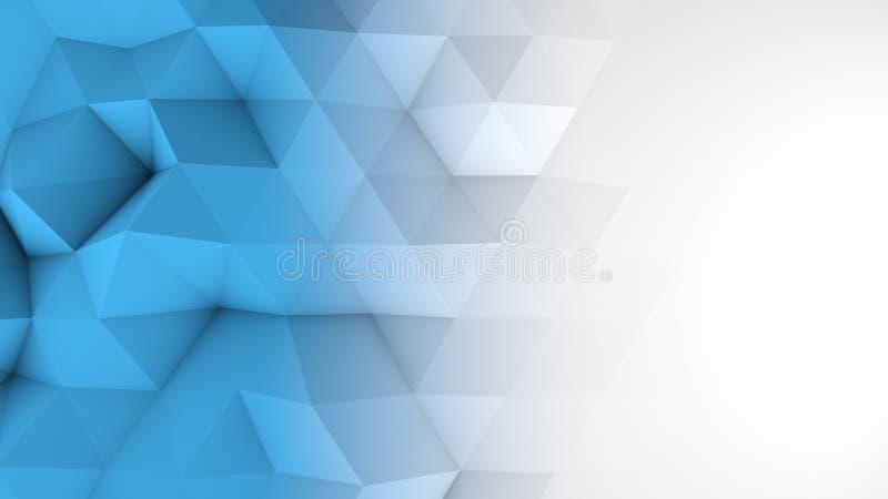 白色蓝色梯度多角形几何3D表面 皇族释放例证