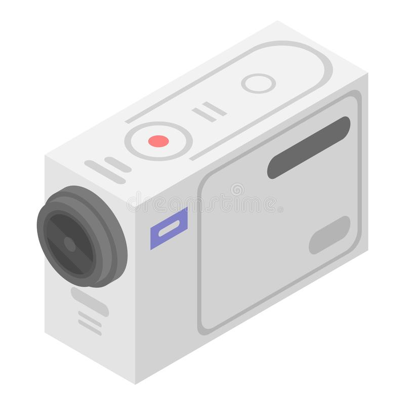 白色行动照相机象,等量样式 库存例证