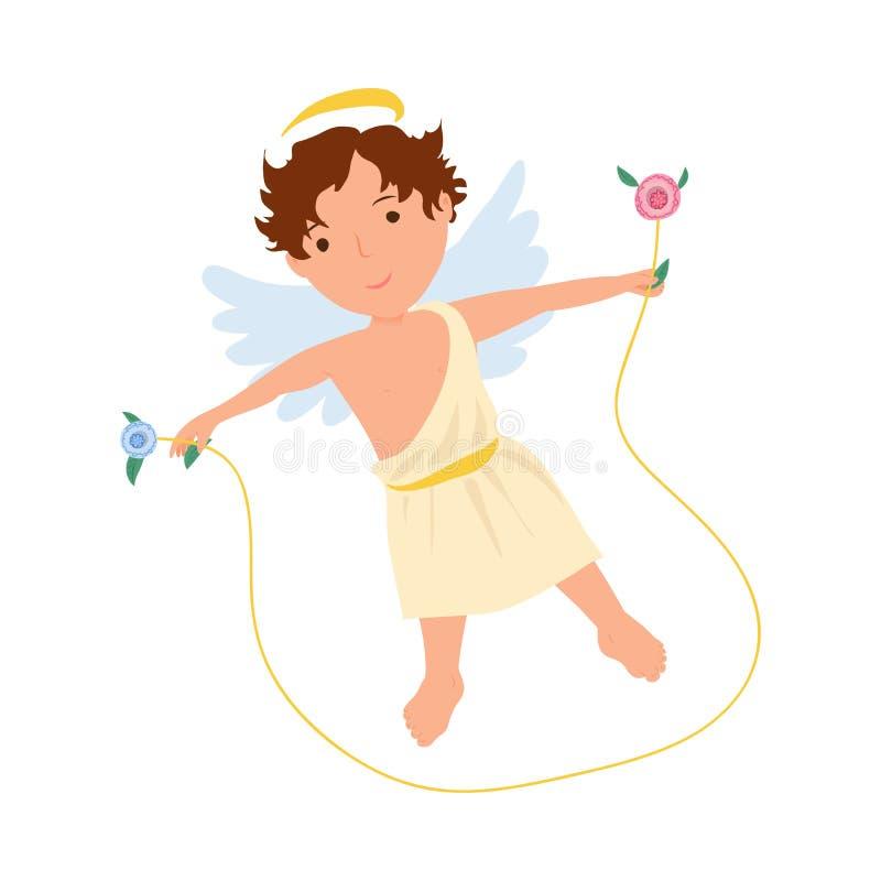 白色衣裳的逗人喜爱的天使男孩在跳绳跳 库存例证