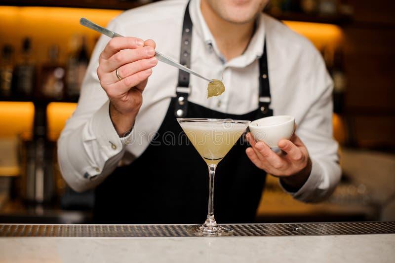 白色衬衣的装饰与桦树叶子的男服务员和围裙一个鸡尾酒 库存图片