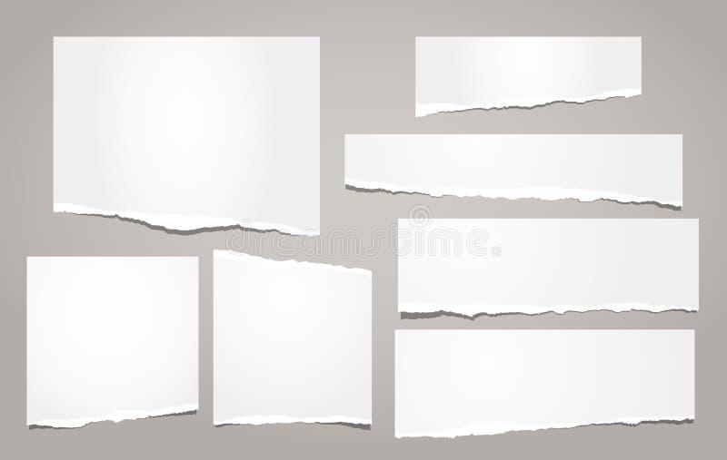 白色被剥去的笔记本纸、被撕毁的便条纸小条文本的或消息在棕色背景 也corel凹道例证向量 皇族释放例证