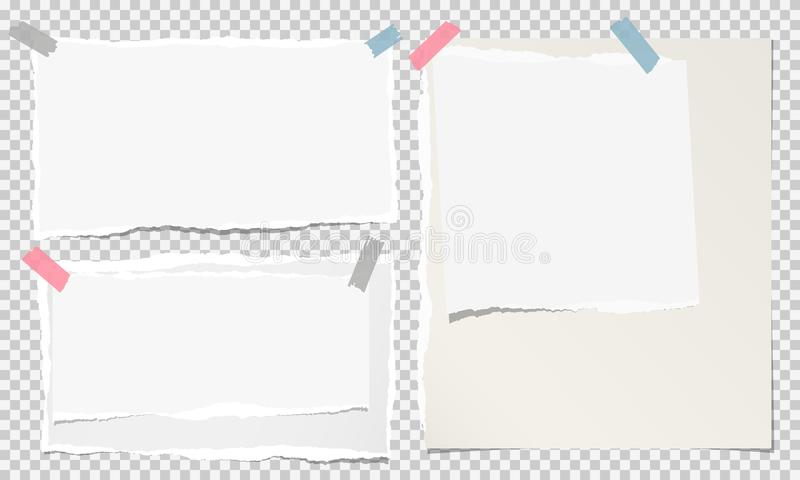 白色被剥去的笔记本纸,在被摆正的灰色背景困住的被撕毁的便条纸小条 也corel凹道例证向量 向量例证
