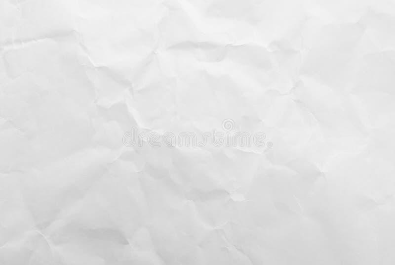 白色被弄皱的纸纹理背景 特写镜头 免版税库存照片