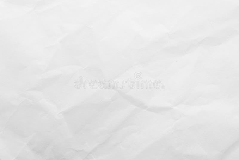 白色被弄皱的纸纹理背景 特写镜头 免版税库存图片