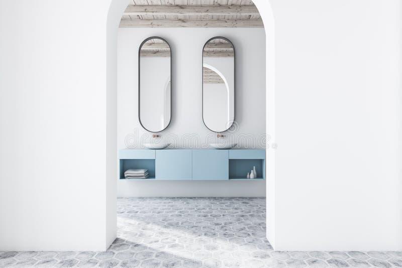 白色被成拱形的卫生间内部,双水池 库存例证