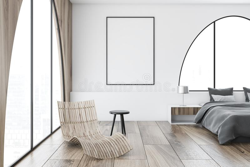 白色被成拱形的窗口主卧室,海报 皇族释放例证