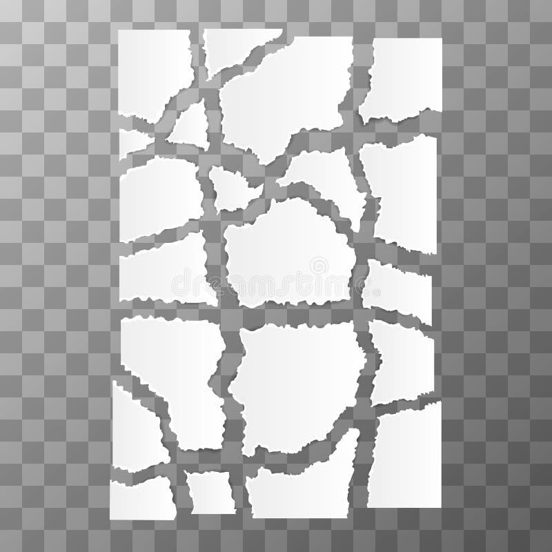 白色被撕毁的纸片断 向量例证