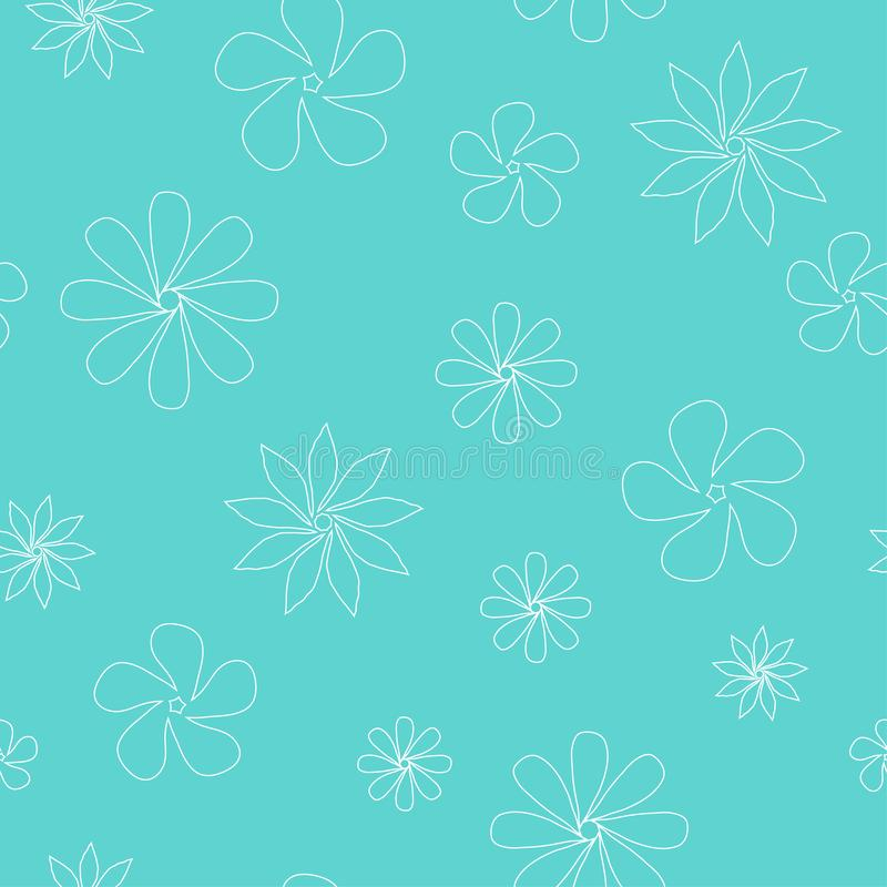 白色被概述的花的传染媒介无缝的样式 皇族释放例证